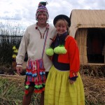 Peter & Michelle dressed as locals @ Lake Titicaca